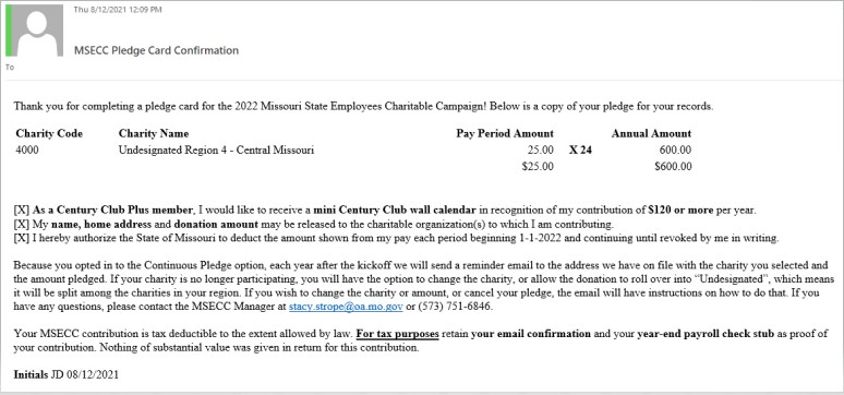 MSECC confirmation email